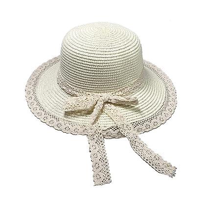 jgashf Gorro de Paja Playa Sombreros ala Ancha Mujer para el Sol ...