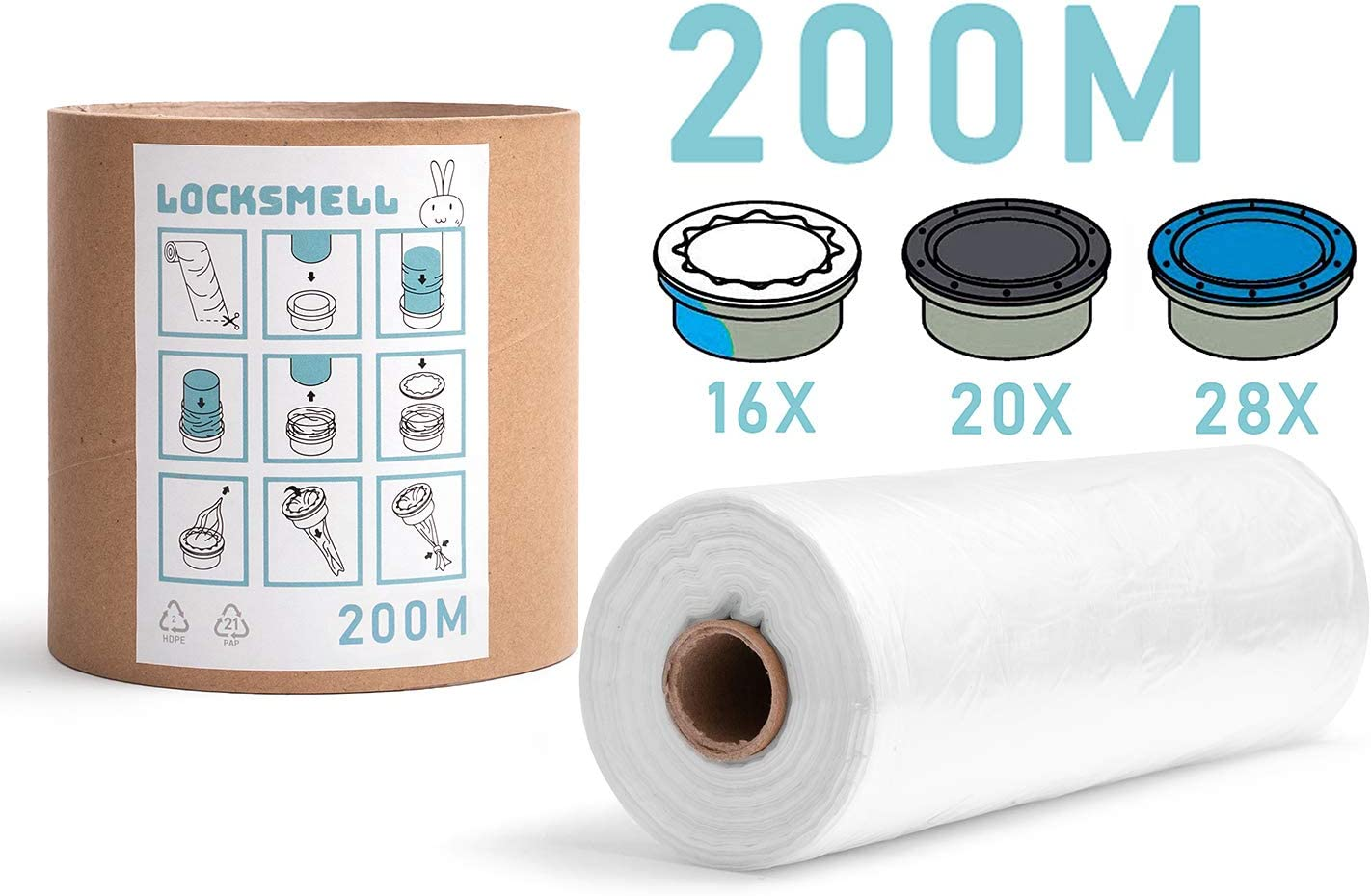 LOCKSMELL Nappy Bin Liners Compatible with Tommee Tippee Sangenic REFILL TUBE 100 m Angelcare /& Litter Locker II cartridges
