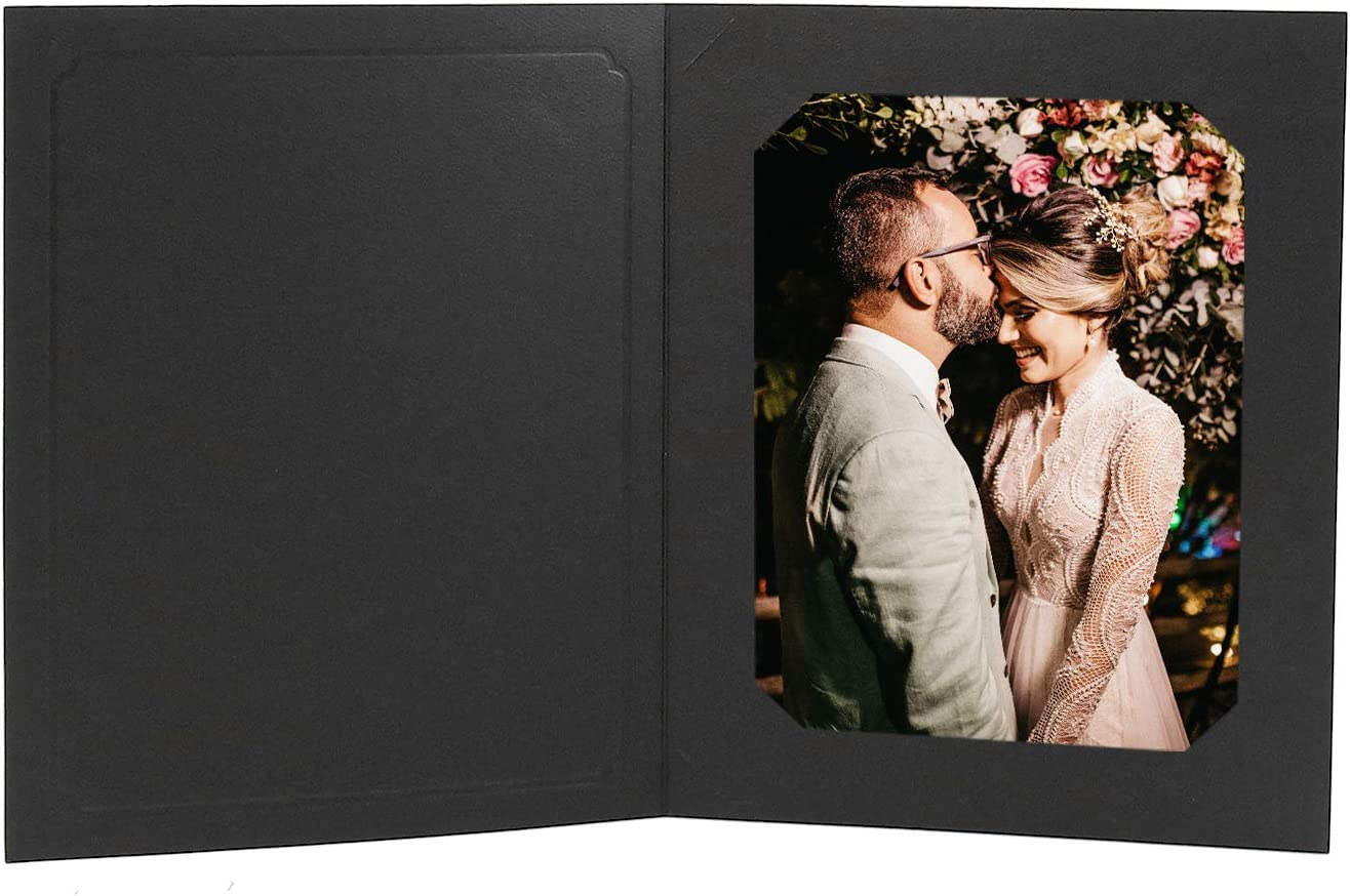 Golden State Art, Acid-Fre Photo Folders for 6x8 or 8x10 Photo,Pack of 25 Black Cardboard/Paper Frames,Great for Portraits and Photos,Special Events: Graduation,Wedding