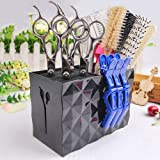 MissLytton Professional Salon Scissors Holder Rack, Hairdresser Scissor Storage Case Keeper, Modern Hairdressing Combs Clips Desktop Desk Organizer Accessories for Hair Stylist Office Home - Black