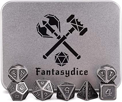 7 Polyhedral Metal Dice for Dragon Scale DnD Pathfinder RPG Board Games