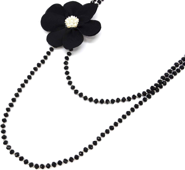 Oh My Shop CL2096F - Collar Largo con Perlas Brillantes con Flor XXL de Tela Negra y Perlas Brillantes