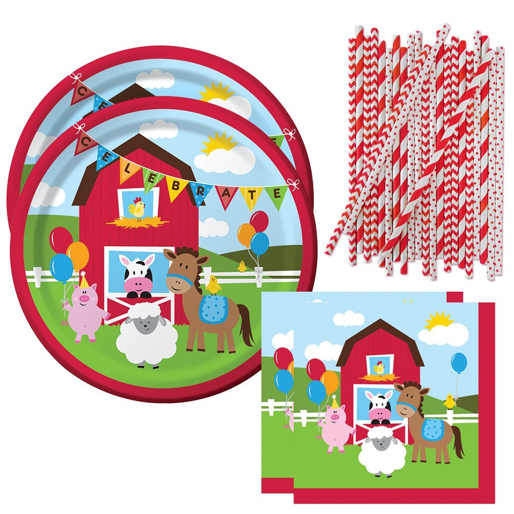 Cedar Crate Market Farmhouse Fun Party Supplies Pack for 16 Guests - Straws, Luncheon Plates, and Luncheon Napkins
