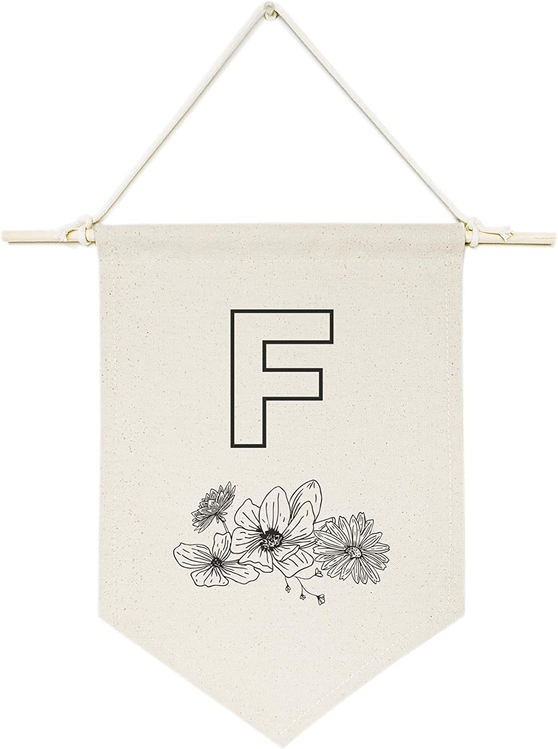 The Cotton & Canvas Co. Personalized Floral Monogram Initial F Hanging Wall Canvas Banner, Home Decor, Nursery, Teen and Kids Room