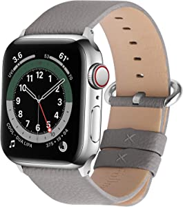 Fullmosa Compatible Apple Watch Band 38mm 40mm 42mm 44mm Leather Compatible iWatch Band/Strap Compatible Apple Watch SE & Series 6 5 4 3 2 1, 38mm 40mm Grey