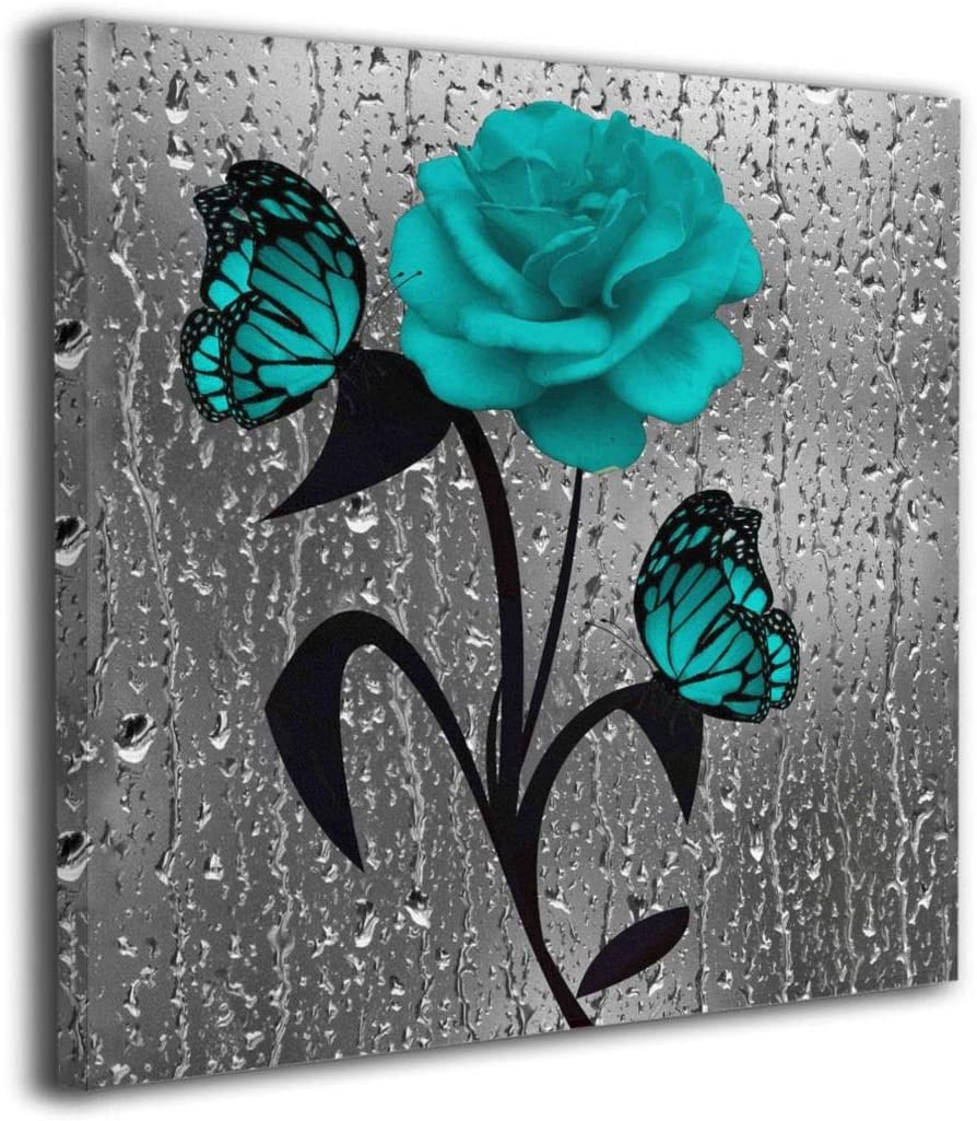 "Sarweaydz 16""x16"" Canvas Wall Art Prints Teal Rose Butterflies Paintings Picture Modern Decorative Giclee Artwork Wall Decor-Wood Frame Gallery Stretched"