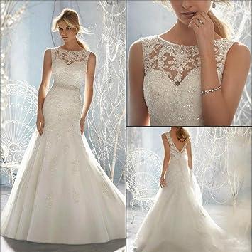 HAPPYMOOD Vestido de novia Vestido de novia Playa Larga Elegante Decoración de mujer Regalo de matrimonio