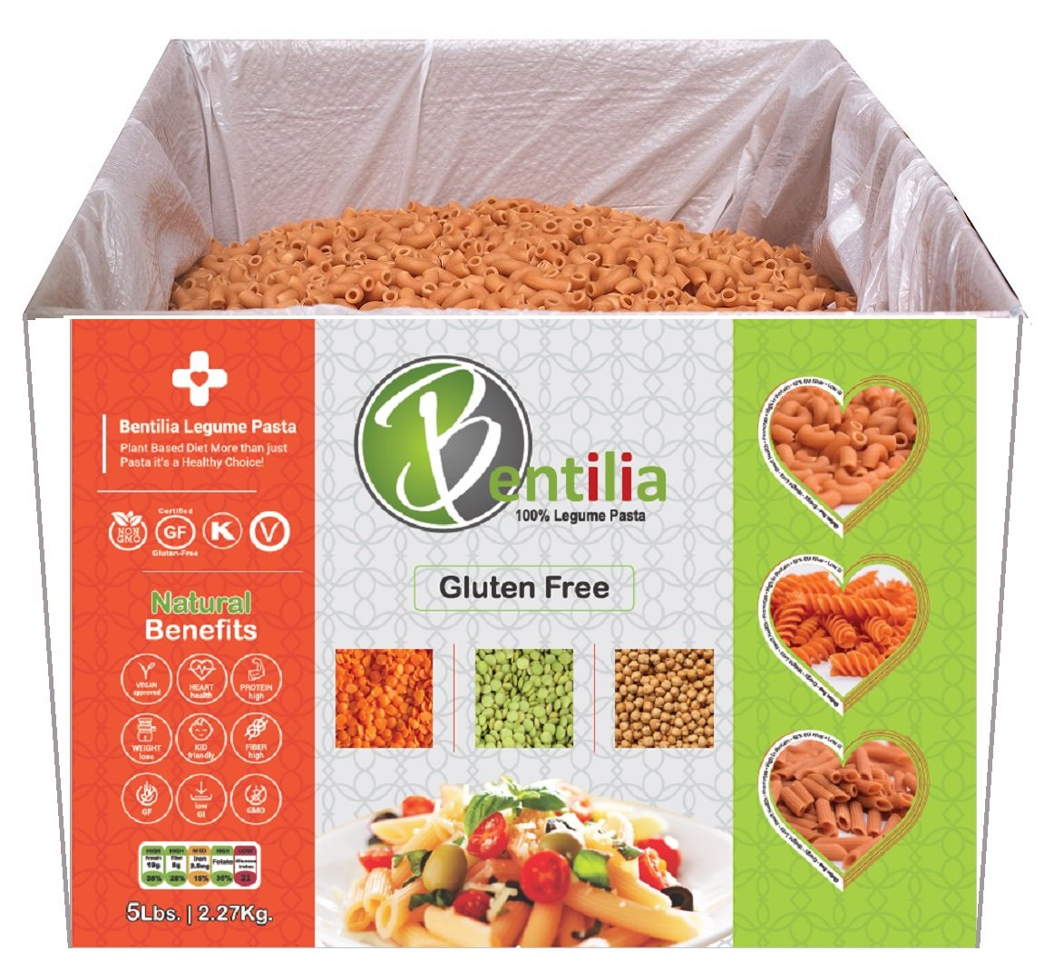 Bentilia Gluten-Free Lentil Pasta, Small Red Lentil Elbow - 5 lb Bulk Case; 100% Natural, Low Glycemic Index, High Protein & Fiber, Non-GMO, Kosher Pasta Healthy food, Tasty perfect add to soup