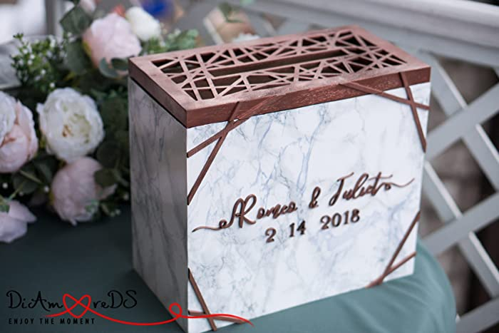 Amazon.com: Wedding Card Box with Slot and Lock, Wedding Card Holder ...