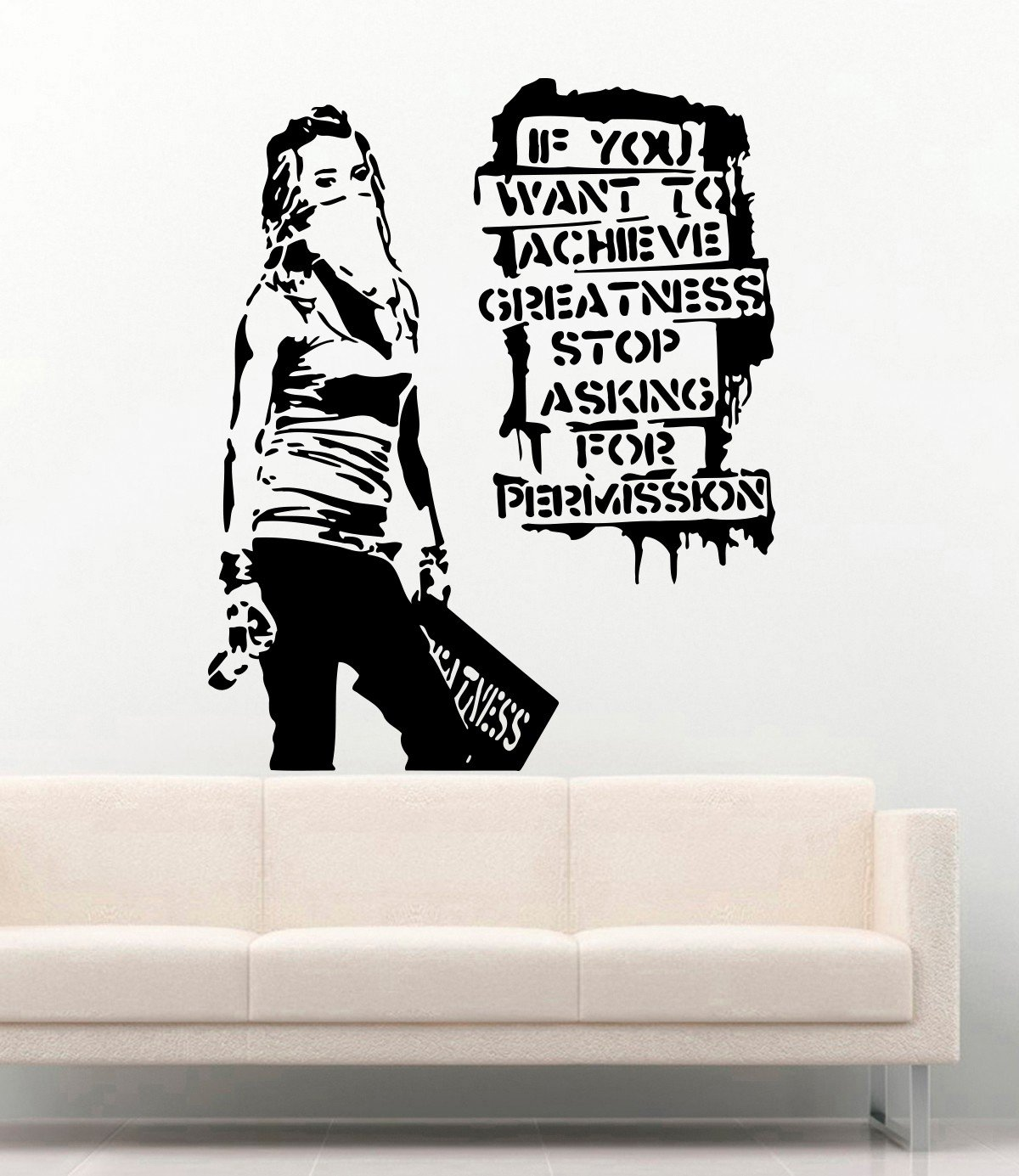 Amazon Banksy Vinyl Wall Decal Girl If You Want To Achieve