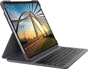 Logitech SLIM FOLIO PRO - Funda con teclado Bluetooth retroiluminado para iPad Pro de 12,9 pulgadas (3.ª y 4.ª generación), Color Gris