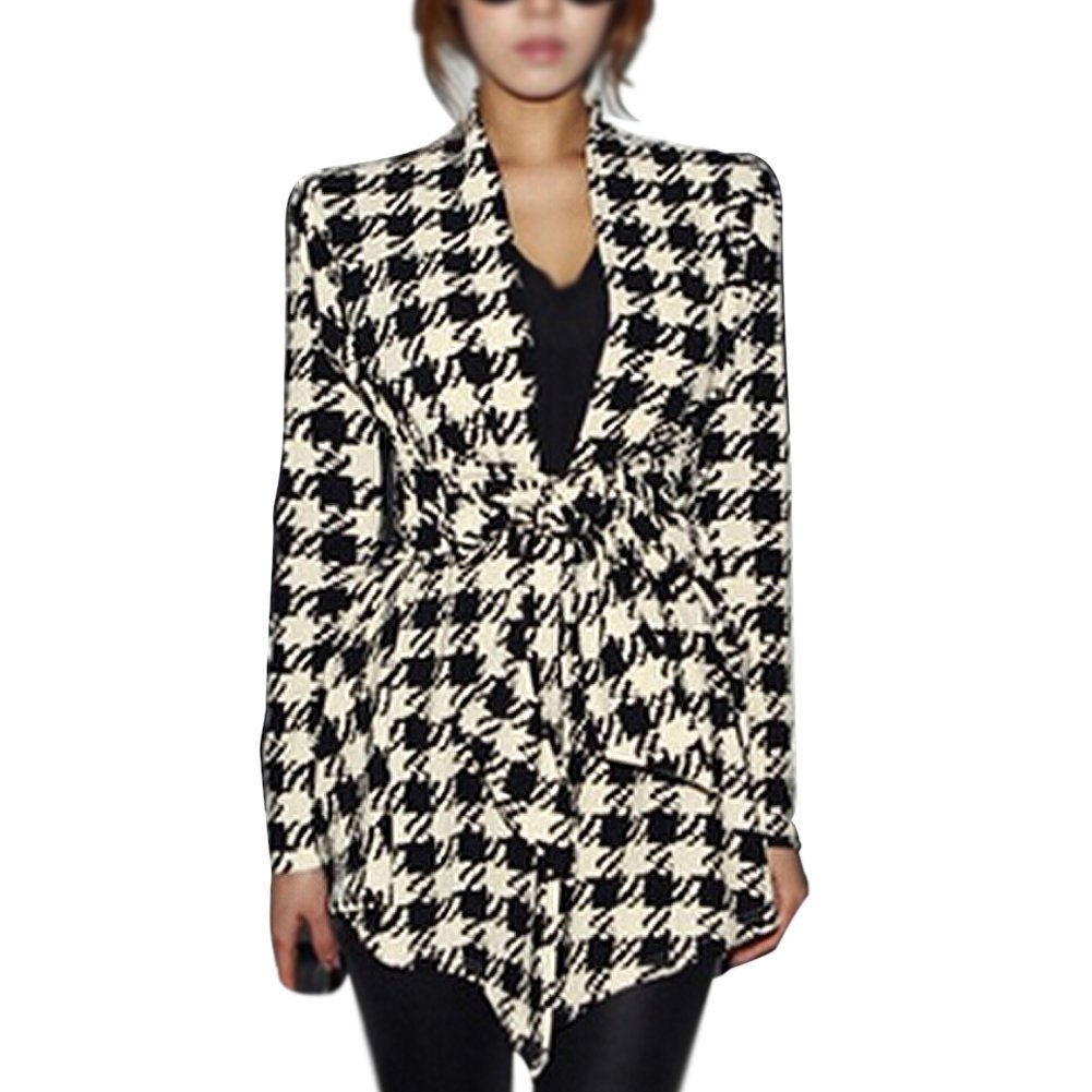 SODIAL(R) Fashion Spring Women's Long Sleeve Houndstooth Print Open Stitch Belt Peplum Slim Jacket Cardigan Coat Top -XL