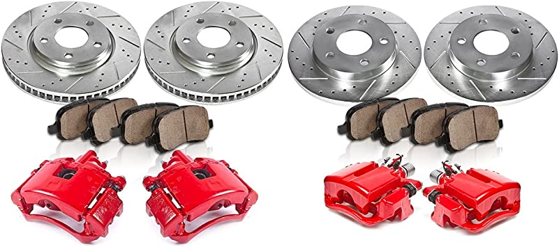 Front 2 Powder-Coated Caliper /& 4 Quiet Low Dust Ceramic Pads fit for 2008-2018 for TOYOTA Sequoia 2007-2018 for TOYOTA Tundra cciyu Brake Caliper with Pads