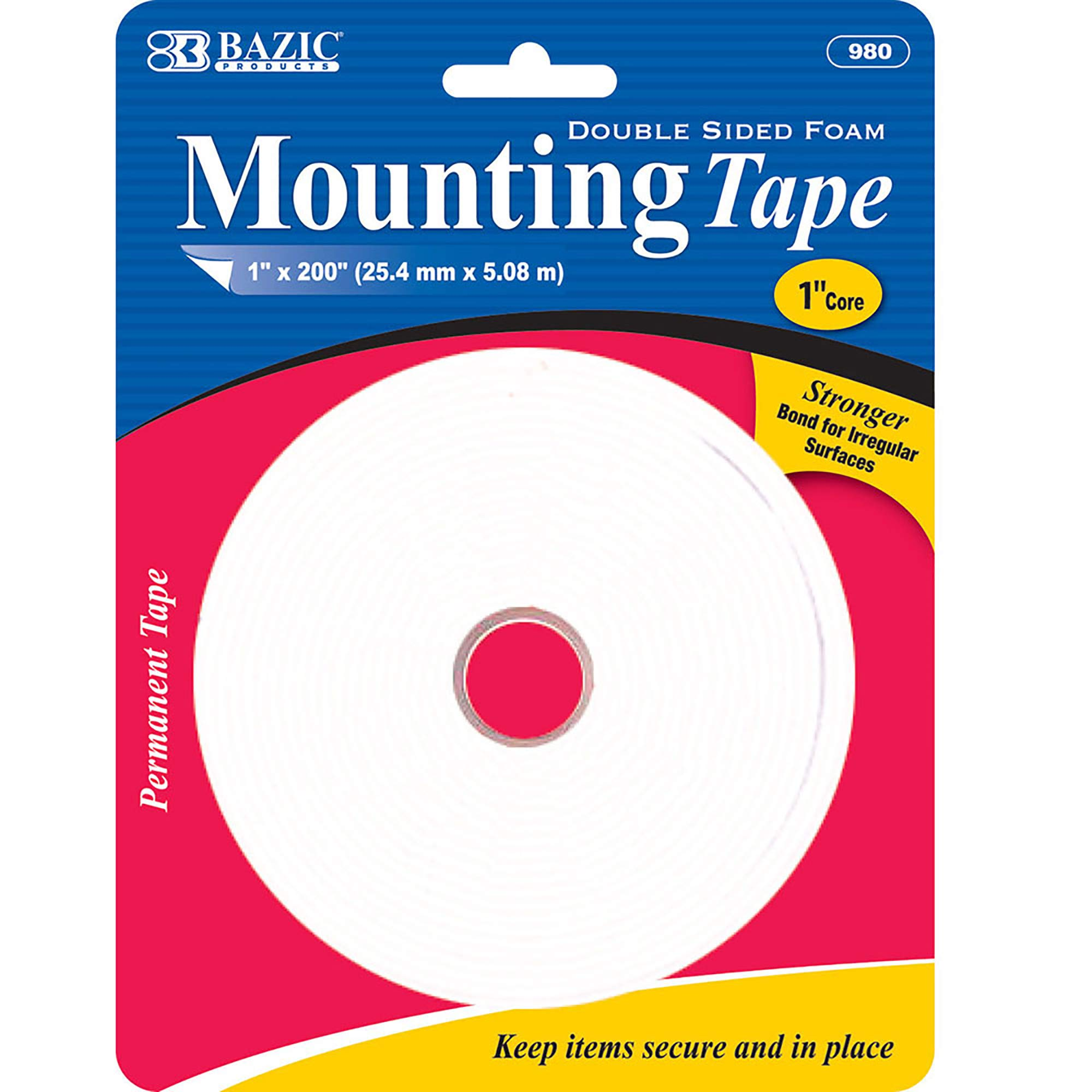 BAZIC 1'' X 200'' Double Sided Foam Mounting Tape (Box of 24) by B BAZIC PRODUCTS