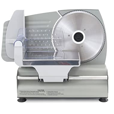 ARKSEN Premium Electric Meat Slicer 7.5  inch Blade Home Deli Meat Food Home Kitchen Stainless Steel, 180 Watt