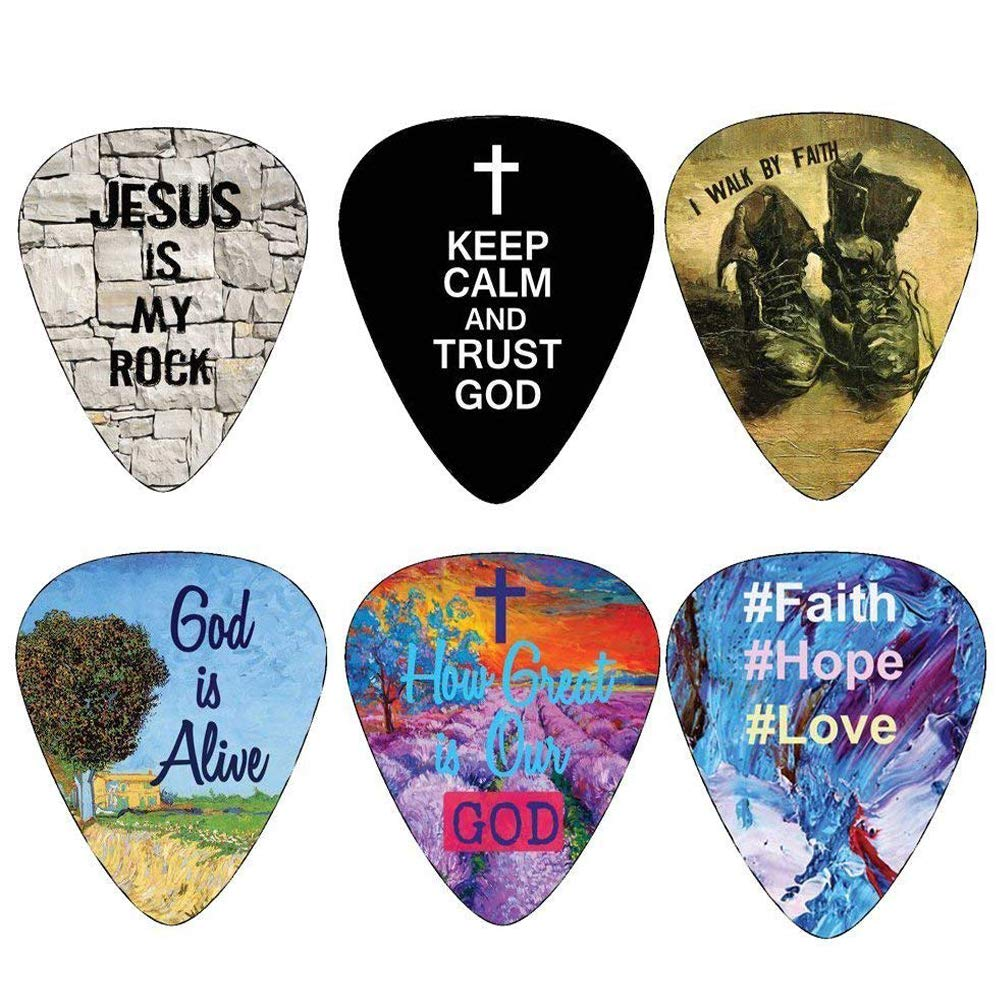 Christian Guitar Picks - 12 pack - Bible Inspirational Messages - Celluloid Medium by NewEights Best Gift for Church Pastor Worship Team Baptism