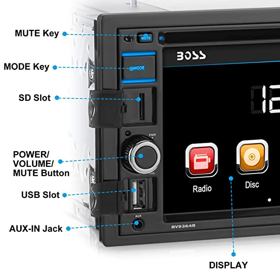 Boss Audio Systems BV9364B 320W Bluetooth Negro receptor multimedia para coche: Amazon.es: Electrónica
