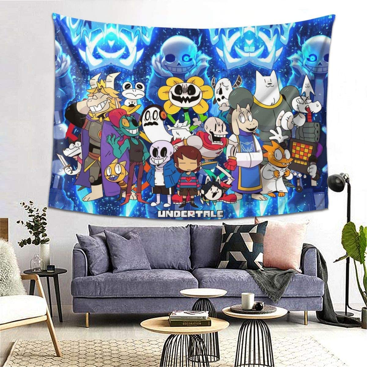 XALER Undertale Sans Tapestry Wall Hanging with Art Print Mural for Living Room Bedroom Dorm Decor Home Decorations 80 X 60 Inches