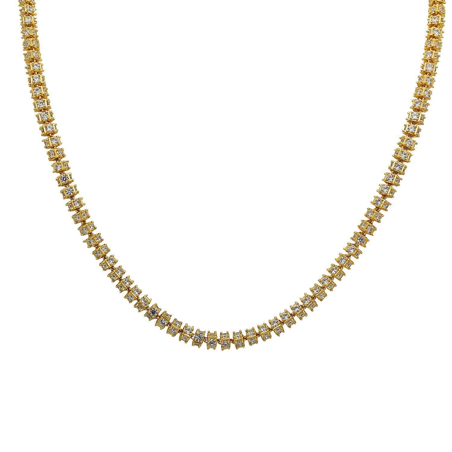 925 Sterling Silver Yellow Gold-Tone Iced Out Hip Hop Bling Infiniti 1 Row Cubic Zirconia Necklace Chain 24''