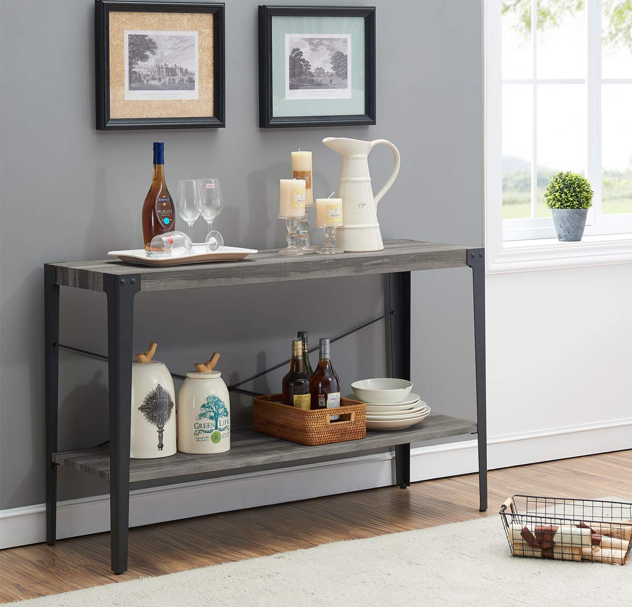 O&K Furniture 2-Tier Industrial Sofa Table, Metal Hall Console Table with Storage Shelf for Living Room and Entryway, Gray Finish(1-Pcs) by O&K FURNITURE
