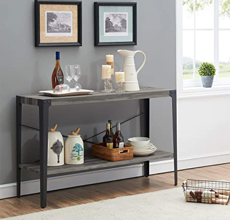 Sensational Ok Furniture 2 Tier Industrial Sofa Table Metal Hall Console Table With Storage Shelf For Living Room And Entryway Gray Finish 1 Pcs Bralicious Painted Fabric Chair Ideas Braliciousco