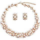 Shining Diva Fashion Jewellery Party Wear Pearl Necklace Set with Earrings for Women and Girls (Golden) (rrsd8484s)