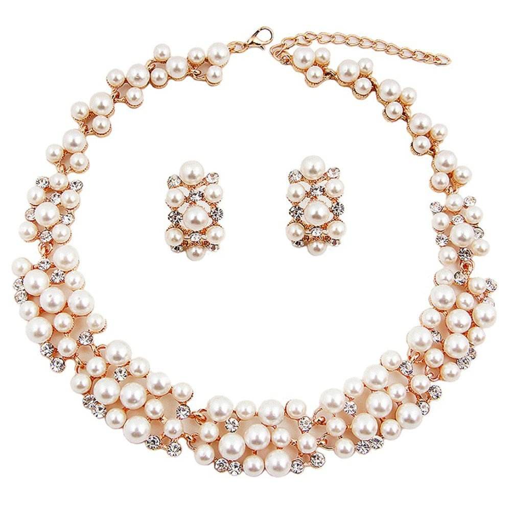 Buy Shining Diva Fashion Jewellery Pearl Necklace Set With