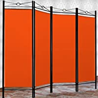 "Deuba Biombo ""LUCCA"" naranja separador de espacios ajustable"