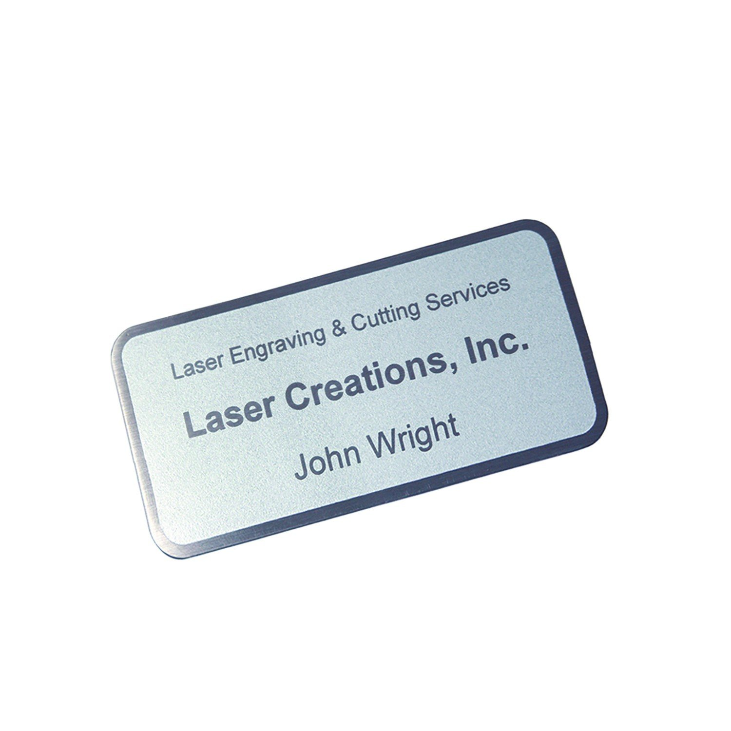Custom Laserfrost Silver 1-1/2'' X 3'' Personalized Plate - Customized Name Plate for Office