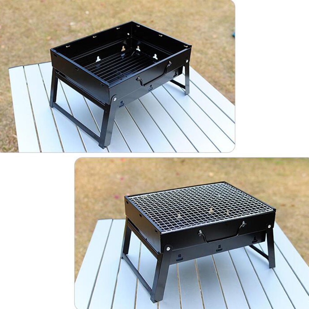 ZZ-aini Portable Charcoal grills Folding Grill, Table top Camping Garden Picnicking Barbecue BBQ-Black 352720cm