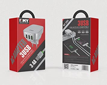 EMY® Cargador de red de 3,4A con Triple salida USB de carga rápida. Incluye cable MicroUSB para dispositivos Android. Carga rápida.