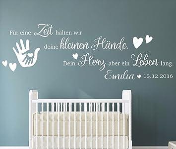 tjapalo® pkm191-name (B130xH43 cm) Wandtattoo Kinderzimmer Baby Wandtattoo  Spruch für eine Zeit halten wir mit Geburtsdatum Datum Name Wunschname ...