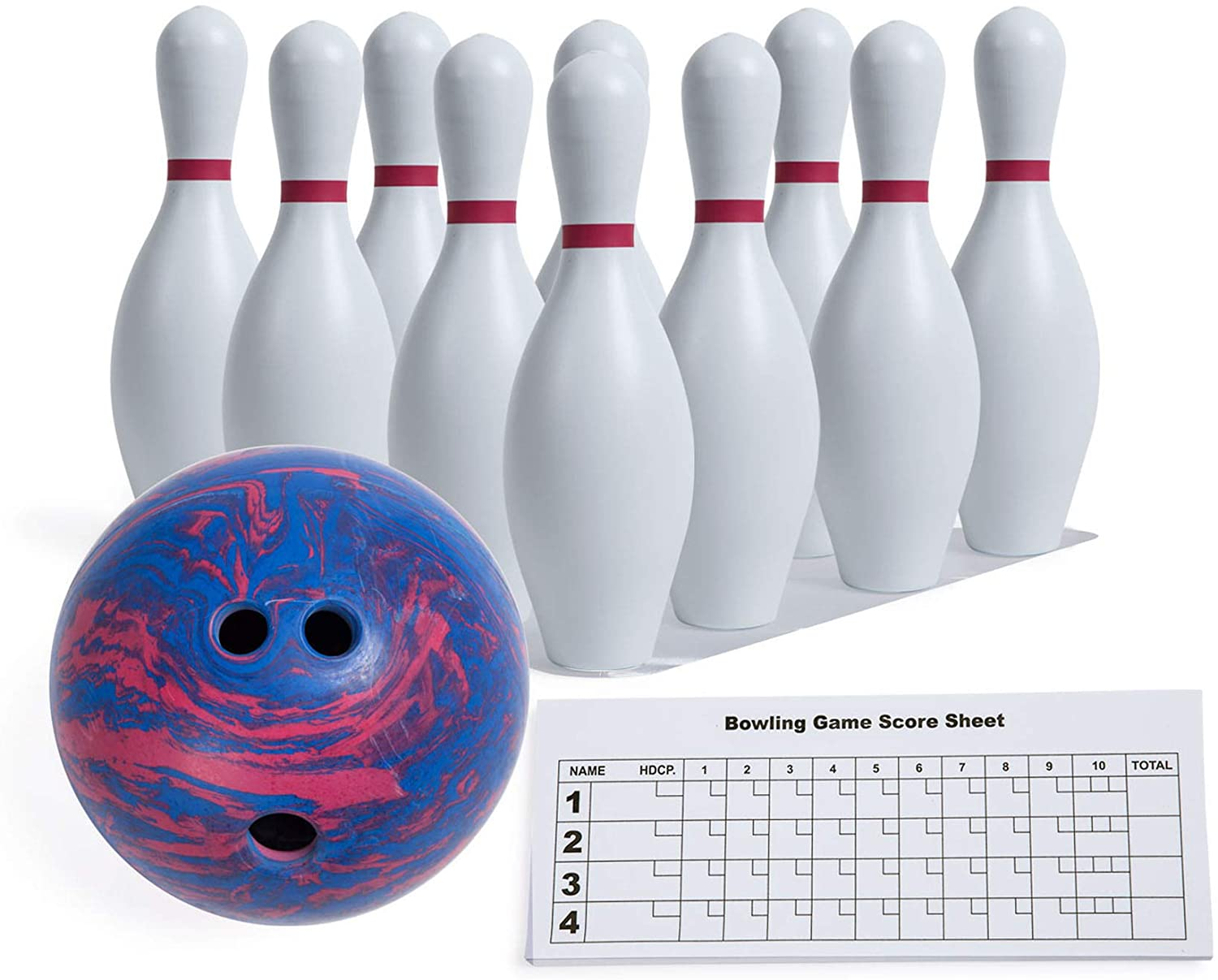 Amazon Com Champion Sports Bowling Set Rubber Ball Plastic Pins For Training Kids Games Model Bpset Bowling Equipment Sets Sports Outdoors