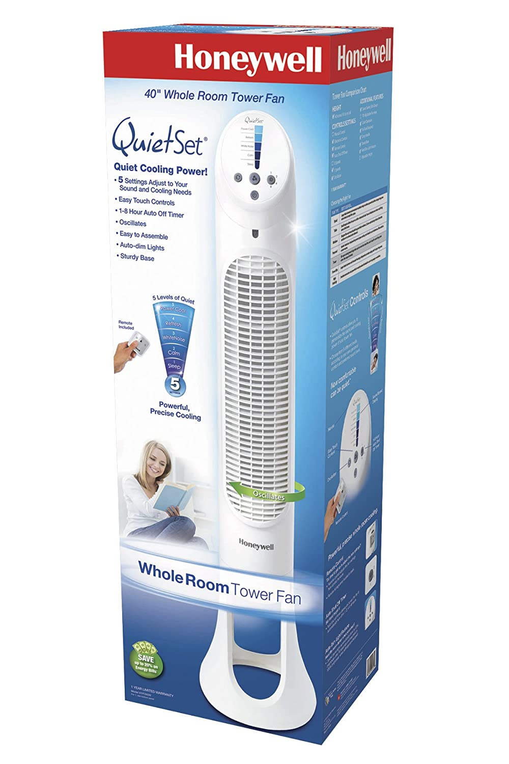 Amazon.com: Honeywell Quiet Set Whole Room Tower Fan: Home & Kitchen
