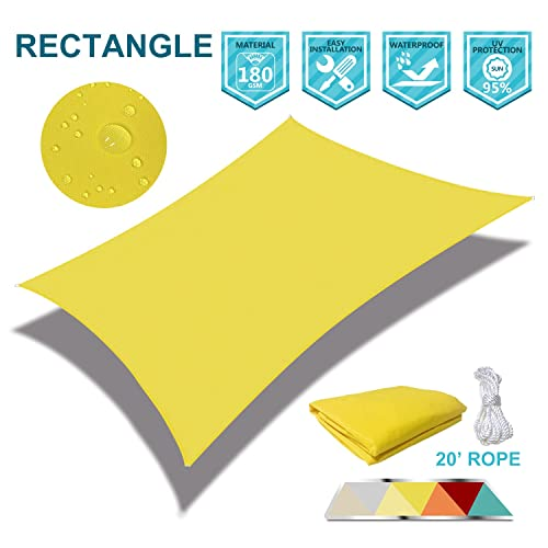 Coarbor Waterproof 10 x13 Sun Shade Sail Canopy Customized Rectangle Polyester for Pergola Carport Awning Patio Yard UV Block- Make to Order-Yellow