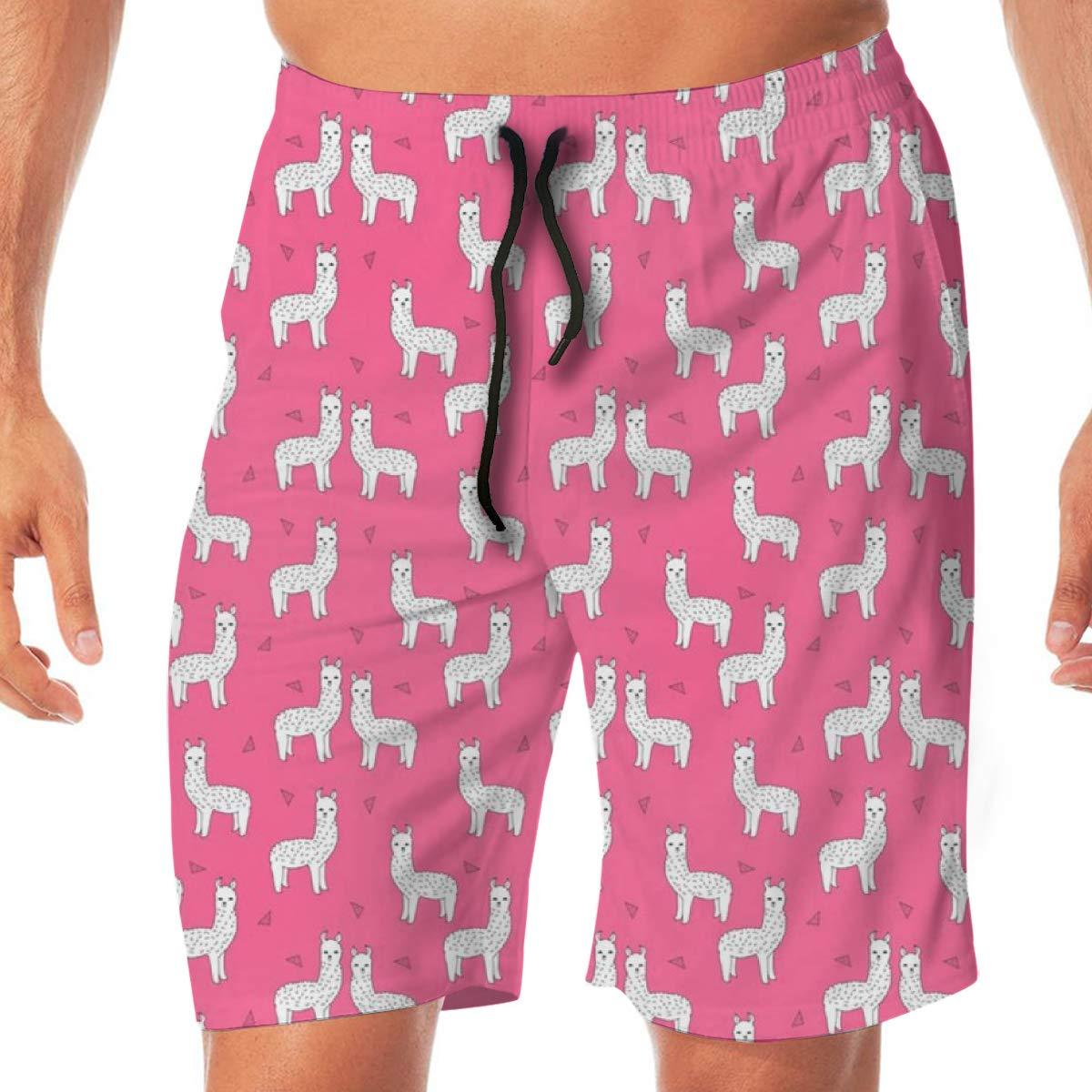 WOJUEDE Pink Llama Cute Llamas Mens Swim Trunks Quick Dry Beach Wear Drawstring Board Shorts