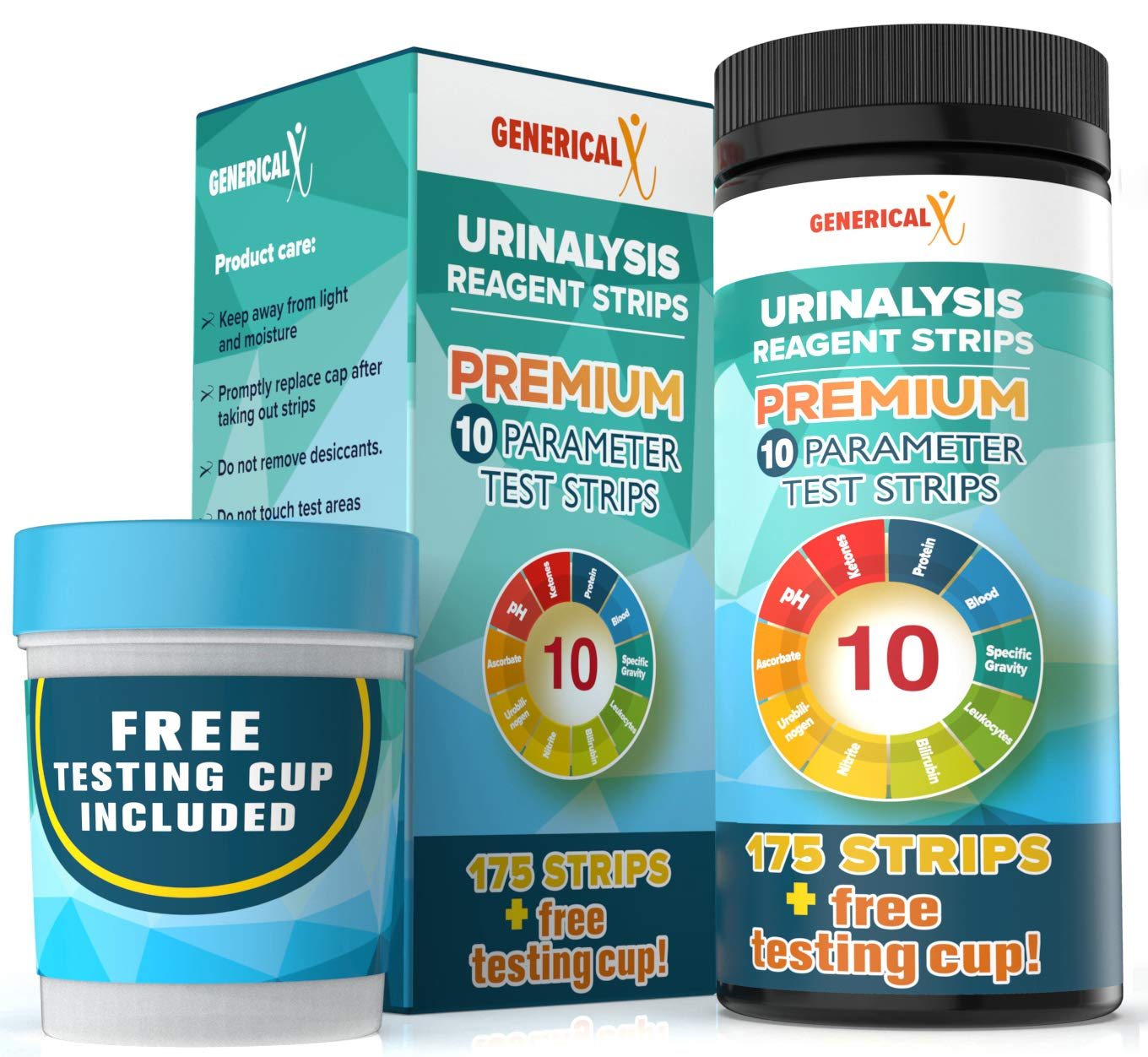 (175 STRIPS + FREE TESTING CUP) |10 Parameter Urine Test Kit | for UTI's, Ketosis, pH, Blood, Protein, Ascorbate | For Gallbladder, Bladder, Urinary Tract, Kidney, Liver Health | FDA-Approved Reagents by Generical X