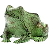 Figur Frosch 14cm Skulptur 1kg Gusseisen Gartenfigur antik Stil grün