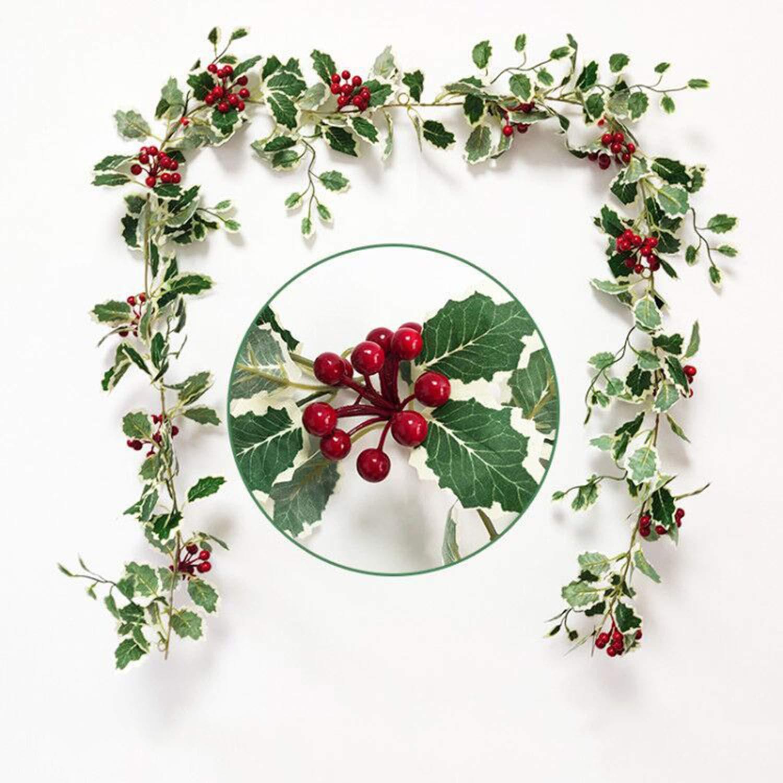 2m Navidad Guirnalda de Bayas Borgo/ña Berry Garland Guirnalda de Hojas Verdes para la Temporada de Invierno de Vacaciones Decoraci/ón de Navidad A/ño Nuevo