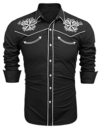 e105d0b3 Mens Long Sleeve Shirts Embroidery Slim Fit Button Down Casual Shirts  Western Cowboy Shirt: Amazon.co.uk: Clothing