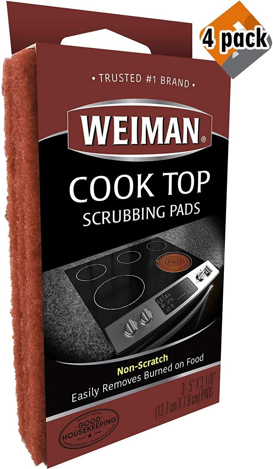 Weiman Cook Top Scrubbing Pads – Gently Clean and Remove Burned-on Food from All Smooth Top and Glass Cooktop Ranges, 3 Reusable Pads (Pack of 4)