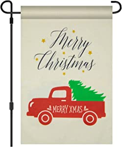VICHFA Merry Christmas Garden Flag - Red Truck Double Sided Home Decorative, Rustic Winter Garden Yard Decorations, New Year Seasonal Outdoor Flag 12 x 18