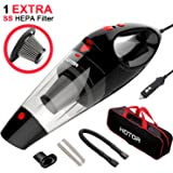 HOTOR Corded Car Vacuum, DC 12V Car Vacuum Cleaner High Power, Potable Handheld Auto Vacuum Cleaner for Car with 16.4ft cable, 1 Extra Stainless Steel HEPA Filter – Black & Red