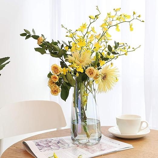 22 cm Irised Crystal Ins Style Decorative Vase Floral Flower Plant Bud Vase Container Decoration for Office Home Kitchen Lewondr Glass Vase Amber Gift for Wedding Christmas Housewarming
