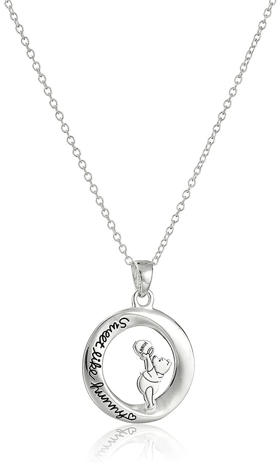 Disney Sterling Silver Winnie The PoohSweet Like Hunny Pendant Necklace, 18 18 Disney Jewelry D40230