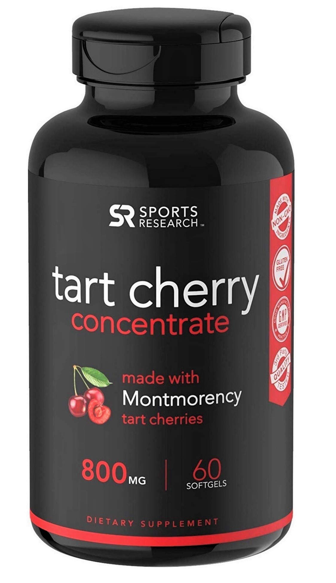Tart Cherry Concentrate - Made from Organic Cherries; Non-GMO & Gluten Free; Packed with Antioxidants and Flavonoids - 60 Liquid Softgels