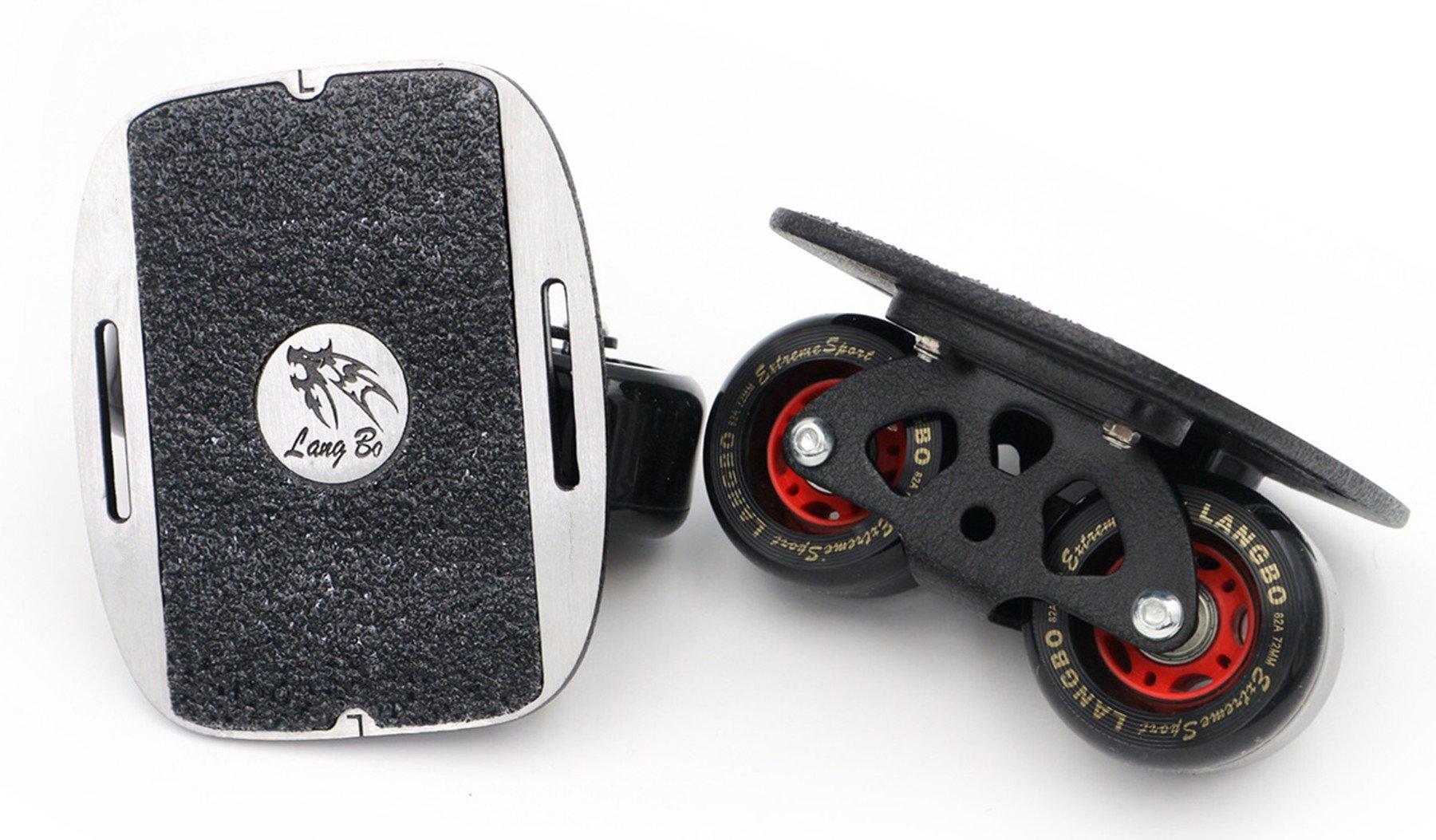 Roller Road Drift Skate Plates Portable Anti-Slip Board Split Skateboard All-in-one Aluminum Alloy with PU Wheels (Black) by Smartuan