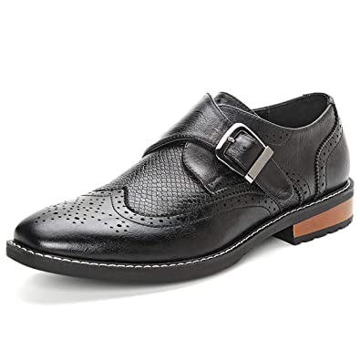 663ec023 Cosym Men's PU Leather Flat Dress Shoes Low-top Slip-on Monk Strap Loafer
