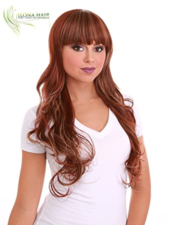 Amazon.com : Mixed Colors Heat Friendly Long Curly Wig With Bang for Women In Style. 3 Tone Highlight Blonde Red Brown SAIRA peluca larga (M126) : Beauty