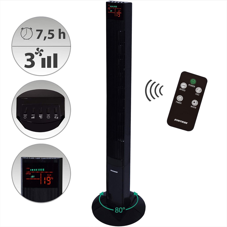 Syntrox Germany TFT-50W - Ventilador con mando a distancia, temporizador y función oscilante